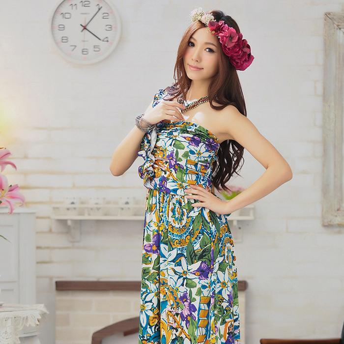 灰姑娘[2810花-S]中大尺碼*波希米亞渡假風連身長洋裝謝師宴服飾