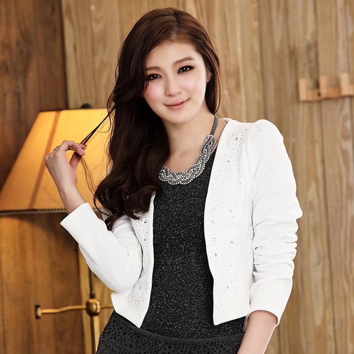 灰姑娘[515-JKL]中大尺碼*韓版時尚OL短版長袖燙鑽西裝小外套