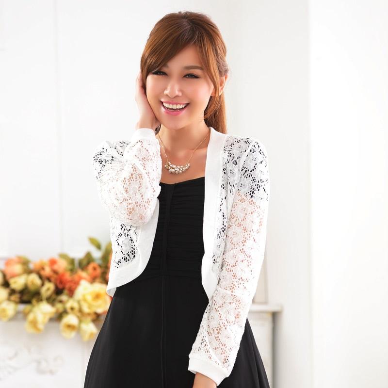 灰姑娘[9620-JK]中大尺碼*蕾絲外套鏤空網花禮服搭配針織小外套