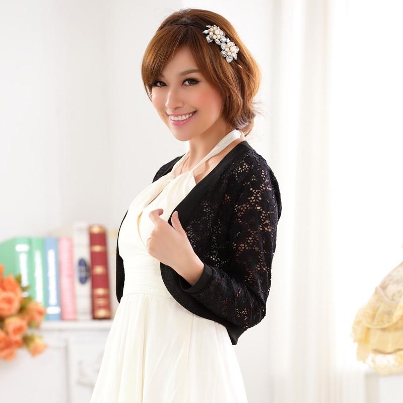 灰姑娘[9620-JK]蕾絲外套鏤空網花禮服搭配針織小外套