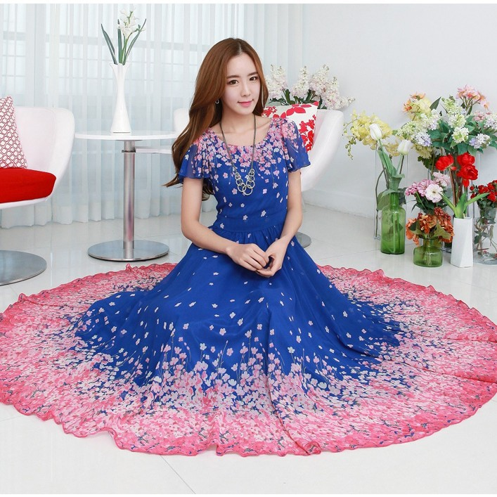 灰姑娘[98339-QF]中大尺碼*飄逸雪紡對味印花大裙襬長裙洋裝