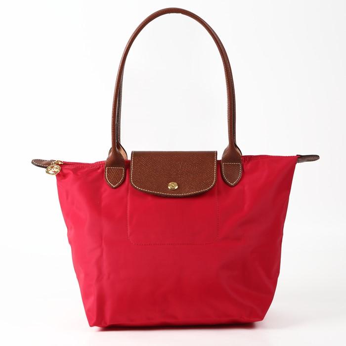 [2605-S號] 國外Outlet代購正品 法國巴黎 Longchamp 長柄 購物袋防水尼龍手提肩背水餃包紅色