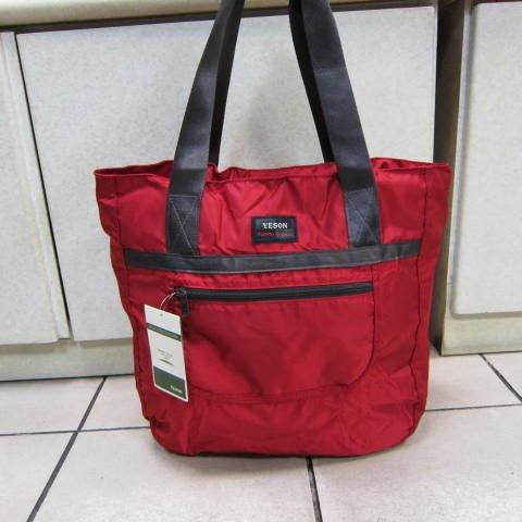 ~雪黛屋~YESON 折疊收納購物肩背袋 超輕耐重材質輕巧好攜帶可外掛行李箱拉桿上並用F667紅