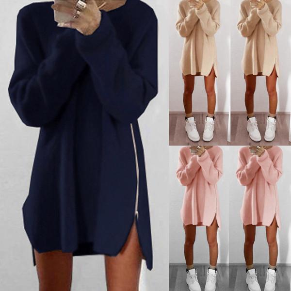PS Mall 歐美新款休閒寬鬆拉鍊毛衣連身裙 洋裝【T4359】