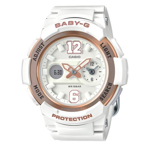 CASIO BABY-G/時尚霸氣甜美運動錶/玫瑰金/BGA-210-7B3DR