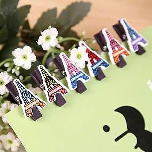 =優生活=zakka生活小物 巴黎艾菲爾鐵塔造型 精緻小木夾 照片夾 6入/套