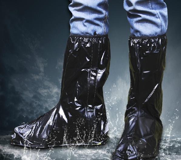 PS Mall 雨鞋套 鬆緊帶重覆用高筒防水鞋套 靴袋 透明款【J1172】