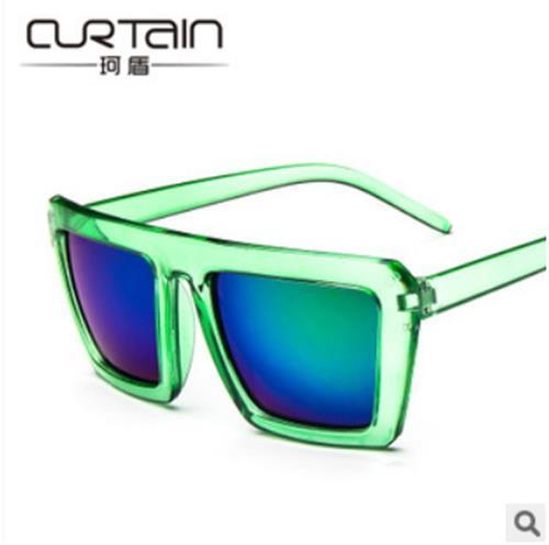 50%OFF【J005273Gls】小辣椒同款時尚反光 透明方框彩膜潮太陽眼鏡墨鏡 附眼鏡盒 防紫外線 明星款 反光鏡面
