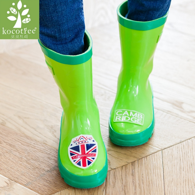Kocotree◆經典學院風劍橋米字徽章橡膠兒童雨鞋-綠色