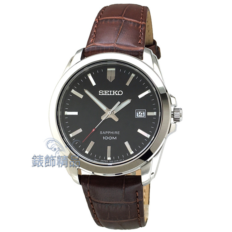 【錶飾精品】SEIKO手錶 精工表 SGEH49P2 藍寶石鏡面  夜光 黑面 日期 咖啡色壓紋皮帶男錶 全新原廠正品 情人禮品