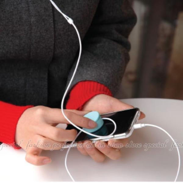 圓形糖果色二合一手機檫+耳機繞線器 MP3耳機集線器 捲線器 螢幕擦拭布【DE205】◎123便利屋◎