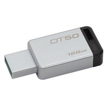 *╯新風尚潮流╭* 金士頓 隨身碟 DT50 USB 3.1 128G 黑標 無蓋式設計 金屬外殼 DT50/128GB