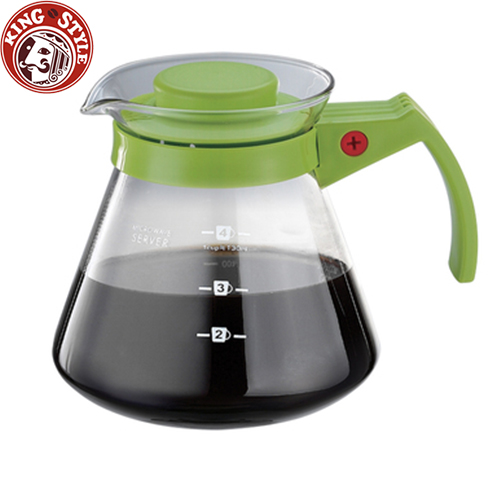 金時代書香咖啡 Tiamo 玻璃咖啡壺 450cc 綠色 弧型把手