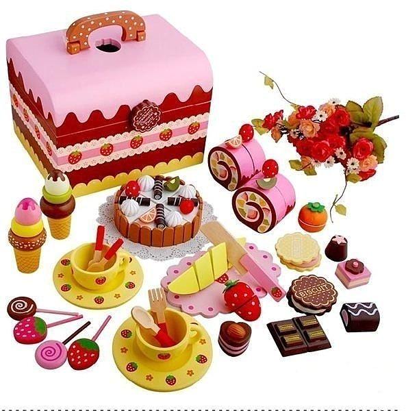 Mother Garden草莓巧克力蛋糕下午茶家家組-有提把(魔鬼氈)