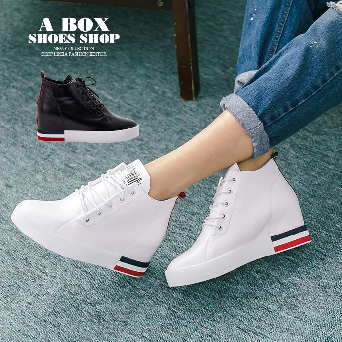 格子舖*【KF1888】韓國製造 街頭時尚百搭 質感真皮皮革 3.5CM內增高綁帶休閒鞋 2色