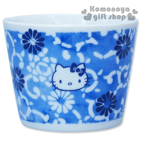 〔小禮堂〕Hello Kitty 日製陶瓷沾麵杯《藍.花唐草.110ml》精緻金正瓷器