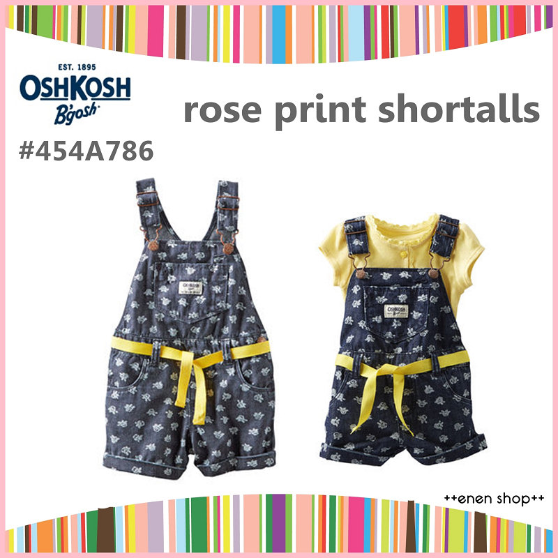 ++enen shop++ OshKosh B'gosh 玫瑰印花單寧吊帶短褲 ∥ 9M/12M/18M/24M/2T