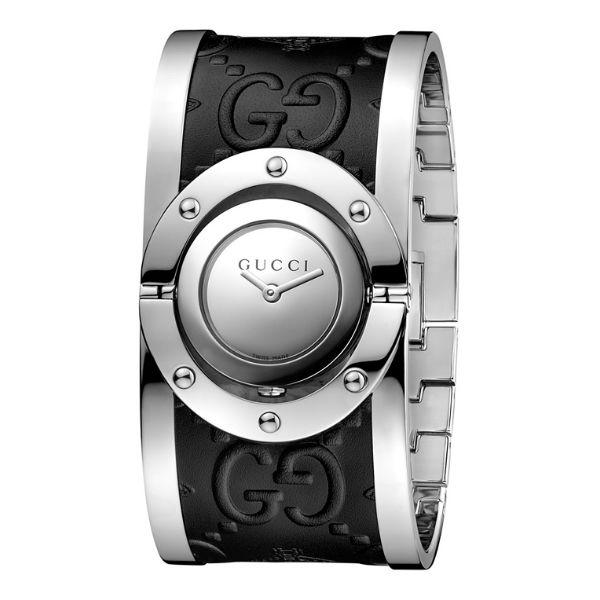 Gucci 古吉YA112441銀灰大手環時尚腕錶/銀面33mm