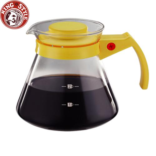 金時代書香咖啡 Tiamo 玻璃咖啡壺 300cc/2杯 黃色 弧型把手