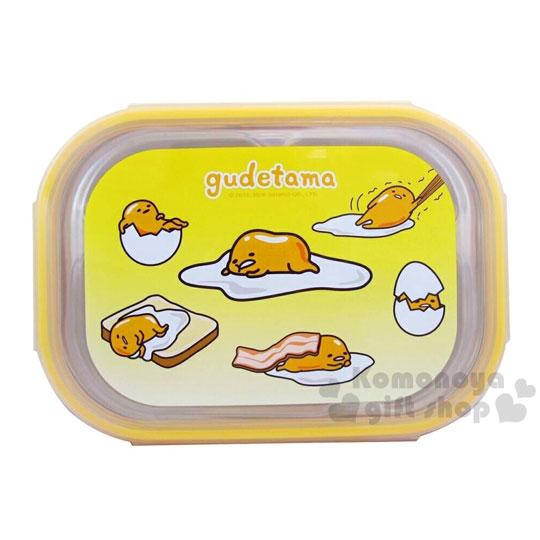 〔小禮堂〕蛋黃哥 不鏽鋼餐盤式便當盒《黃.多動作滿版.GU-8150》