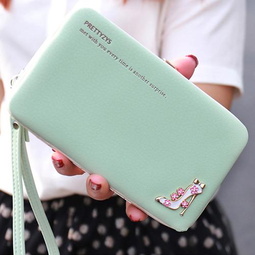 ☆BOBI☆02/25高跟鞋皮面硬殼長夾 拉鍊皮夾錢包卡包手機包【PS100】