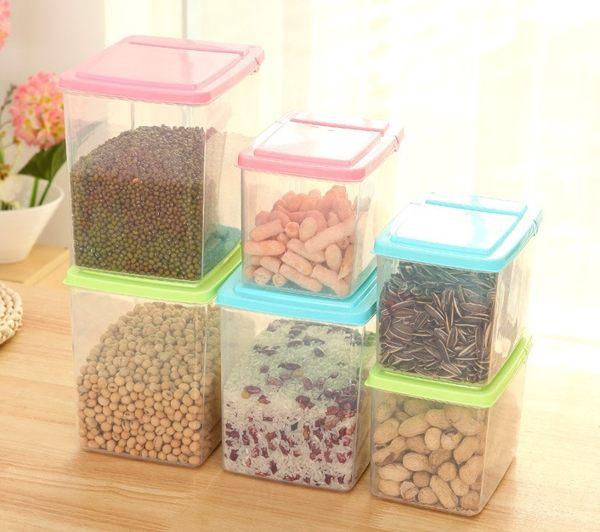 PS Mall 廚房翻蓋食品收納盒儲物罐 保鮮盒 收納盒 【J599】