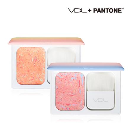 韓國 VDL X Pantone 專家級迷你漸變腮紅(附刷具) 9.5g 玫瑰石英粉 寧靜粉藍【N201601】