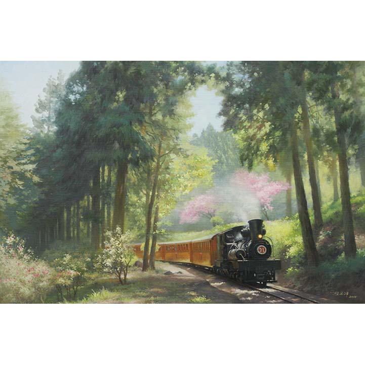 【P2 拼圖】賴英澤油畫系列-春遊阿里山森林鐵道-沼平線1000片 01-021