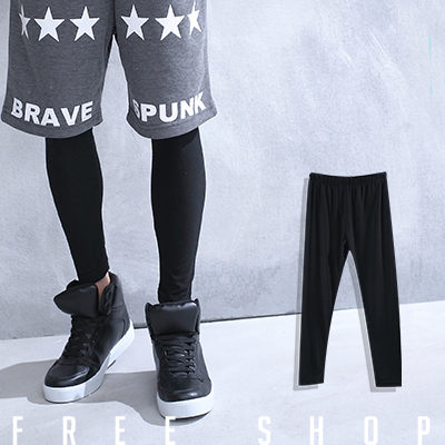 Free Shop【QSPG2312】歐美潮流系極簡素色素面彈性棉質內搭長褲內搭褲‧黑色 MIT 台灣製