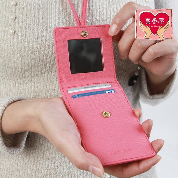 【喜番屋】日韓版真皮牛皮可掛脖附鏡子證件包證件夾悠遊一卡通卡片夾卡片包卡片套卡夾卡包女夾女包精品禮物CB101