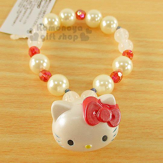 〔小禮堂〕Hello Kitty 造型珍珠手環《紅白.立體大臉.紅蝴蝶結》