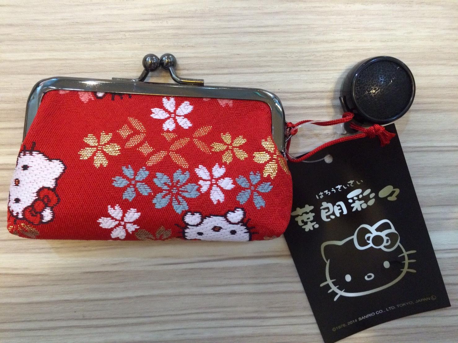 日本正品 Hello Kitty 葉朗彩 刺繡印鑑口金包 附印泥 日本製