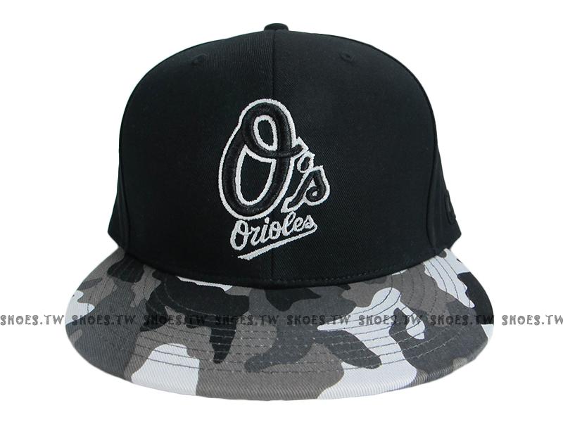 《降價7折》Shoestw【5562004-018】MLB 棒球帽 調整帽 潮流帽 金鶯隊 黑灰迷彩 英文字
