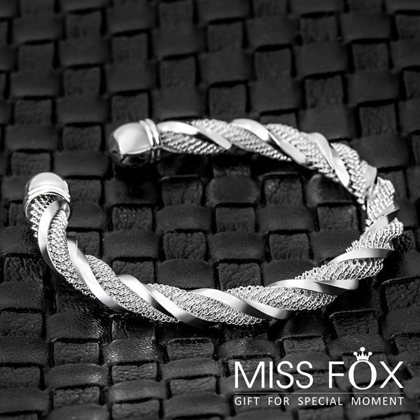 限時5折 鍍925純銀手鐲 皇家記憶 紐紋手環 JJ0379