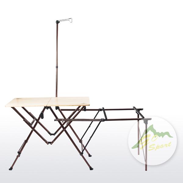 【露營趣】中和 GO SPORT 92491 竹板料理桌 行動廚房 摺疊桌 燒烤桌 同coleman CM-0520質感