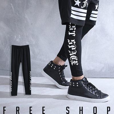 Free Shop【QSPG2317】歐美潮流系哥德字體彈性彈力棉質內搭長褲內搭褲‧黑色 MIT 台灣製