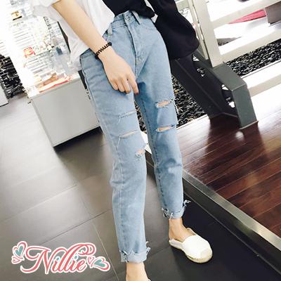 Nillie‧刷破寬鬆牛仔九分長褲09/13(藍)【N90069】