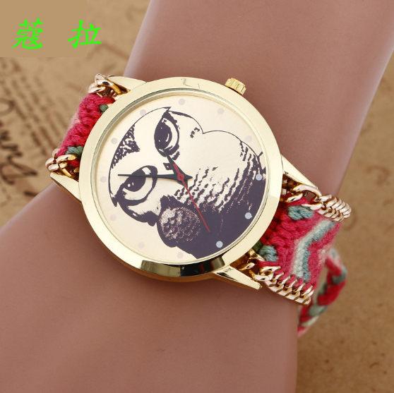 ✻蔻拉時尚✻ [102] 精緻貓頭鷹圖案手工鏈手錶 民族風編織手鏈女士錶