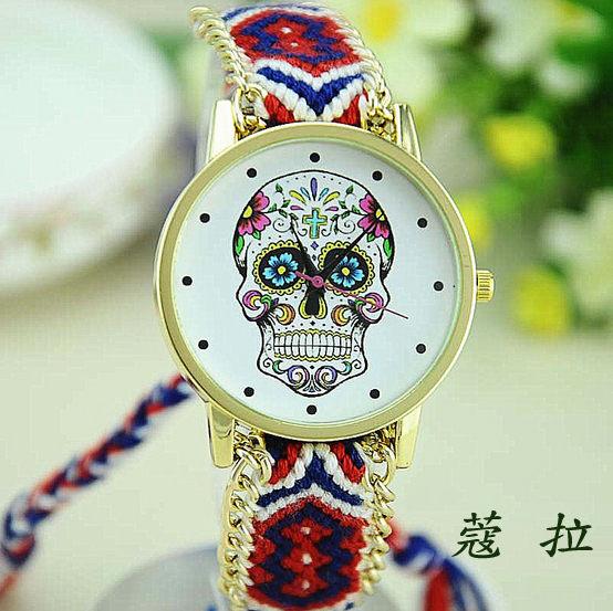 ✻蔻拉時尚✻ [106] 精緻骷髏頭圖案手工鏈手錶 民族風編織手鏈女士錶