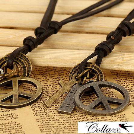 ✻蔻拉時尚✻ [TN0010] COLLA_復古龐克精品_古銅和平標誌牛皮項鍊_2色