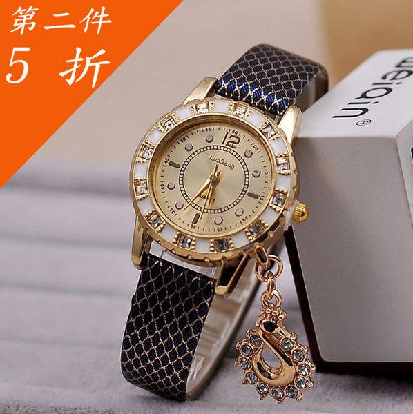 ✻蔻拉時尚✻ [Y01W1] 蛇紋皮帶時裝錶 時尚鑲鑽天鵝吊墜女士錶
