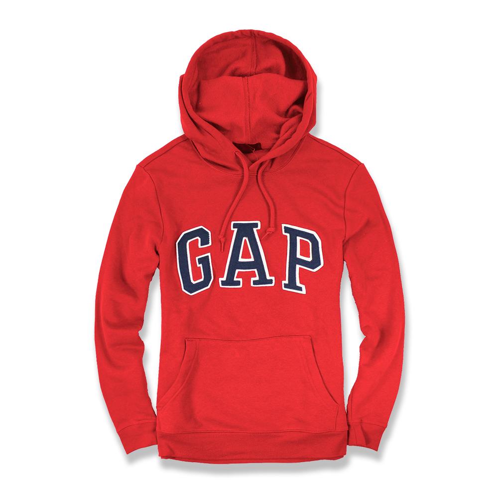 美國百分百【全新真品】GAP 帽T 上衣 外套 長袖 連帽 LOGO 貼布 現貨 男 S號 紅色 E461