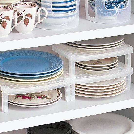 ♚MY COLOR♚可疊加收納置物架 廚房 盤子 碟子 整理 盤碟 碗 鍋子 廚具 餐具 分類【L149-1】