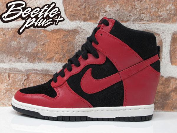 BEETLE PLUS 全新 NIKE WMNS DUNK SKY HI 黑紅 麂皮 內增高 楔型鞋 JORDAN 1 528899-016 女鞋