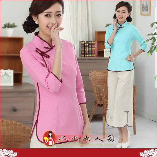 【水水女人國】~中國風美穿在身~清風(兩色)。古典手工扣棉麻馬卡龍七分袖旗袍式唐裝上衣
