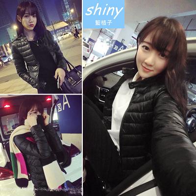 【V5436】shiny藍格子-甜美邂逅.冬裝百搭修身保暖棉襖短款外套