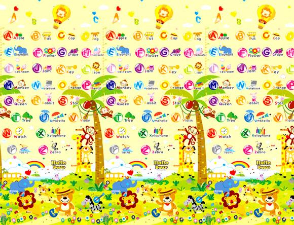 【淘氣寶寶】【原裝進口】韓國製 帕龍 爬行地墊 安全無毒防水抗菌 單面無包邊/可以裁切 (PE*200*150*1cm)ABC 戴帽小熊唸英文