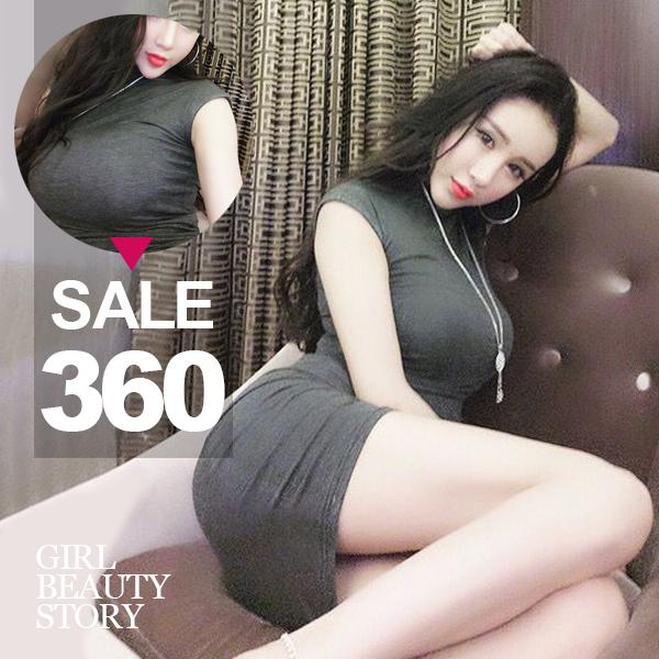 SISI【D6211】優雅顯曲線性感半高領無袖背心緊身縮腰包臀連身裙洋裝