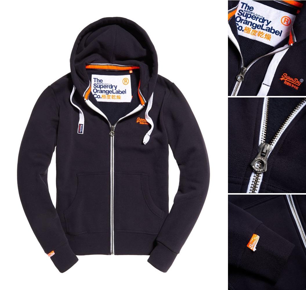 【男款】Superdry極度乾燥2016最新Orange Label系列拉鍊連帽外套運動休閒純棉 外套 最真實海軍藍