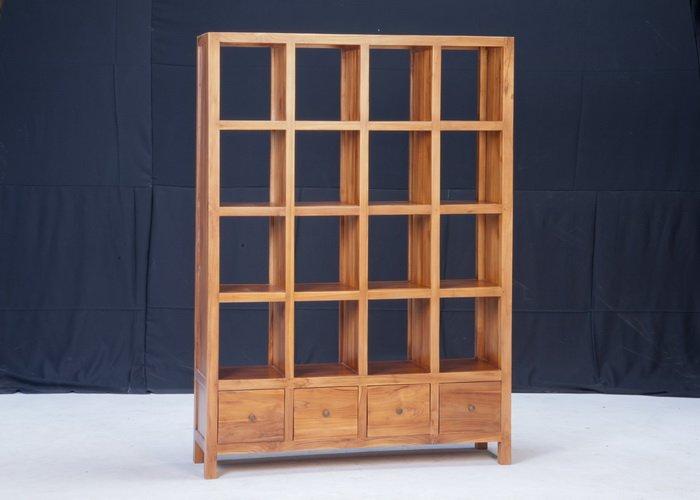 【石川家居】KL-101 柚木16格透視櫃/置物櫃/開放式書架/書櫃 需搭配車趟費